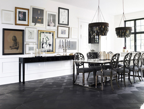 Day-Birger-et-Mikkelsen-dining-room-black-white-gallery-wall-pendants-Lonny-Dec-2012