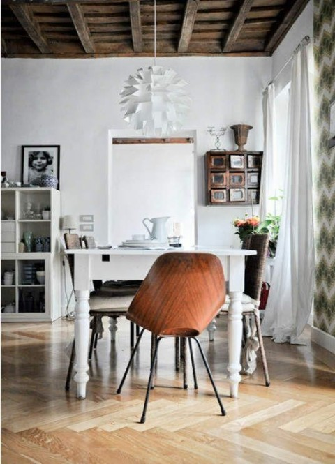 Dining room | herringbone floors + mismatched chairs