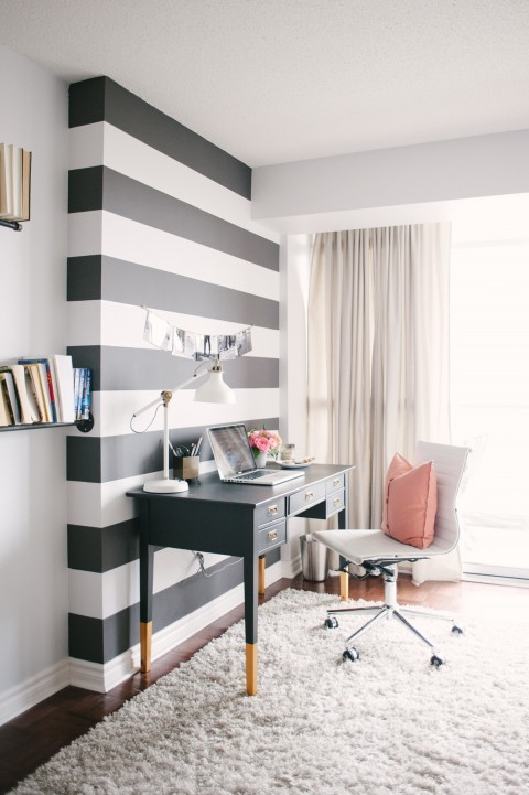 Black white and pink office | Lark & Linen Interior Design