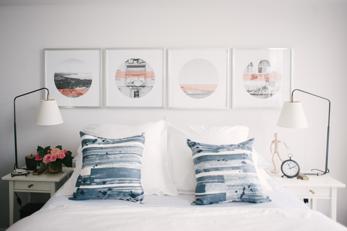 Navy, coral & white bedroom | Lark & Linen Interior Design