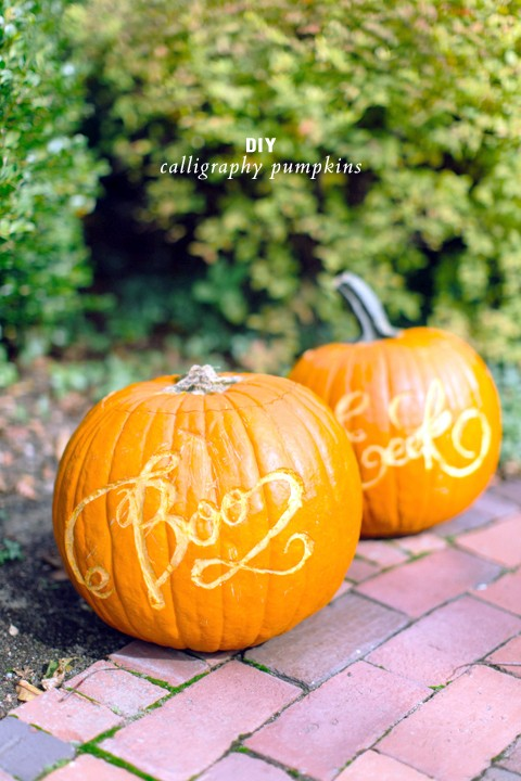 DIY calligraphy pumpkins