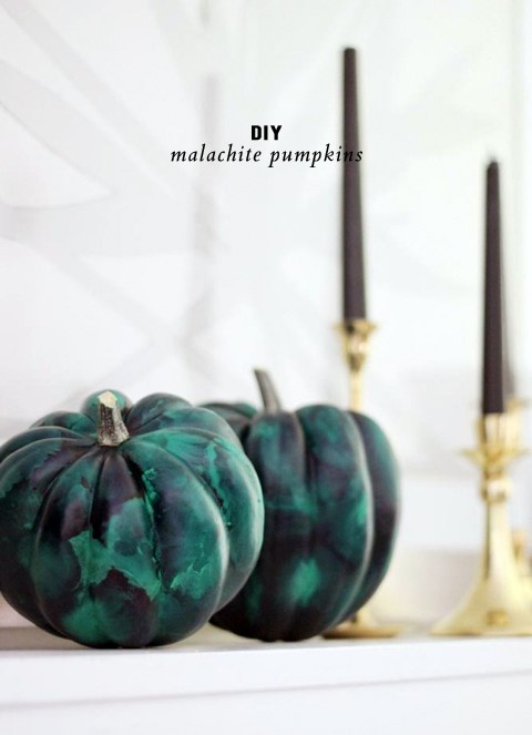 DIY malachite pumpkins