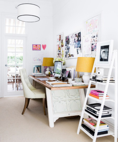 Bright white office with serious character
