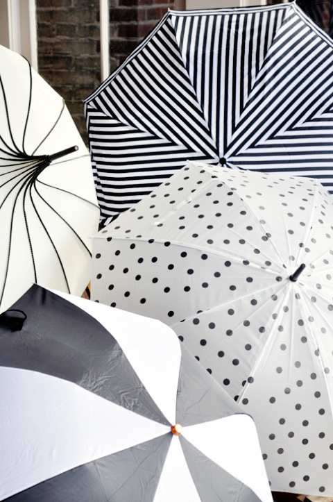 cute umbrellas = awesome baby shower decor