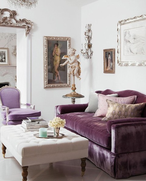 Elegant Living Room Purple Velvet Sofa