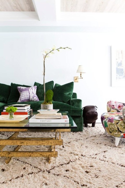 Green crushed velvet sofa