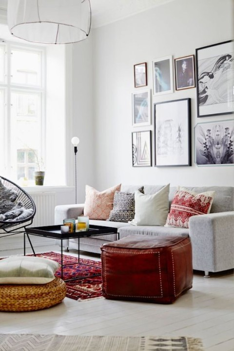 A boho meets modern living room