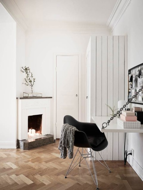 Tiny office, awesome fireplace