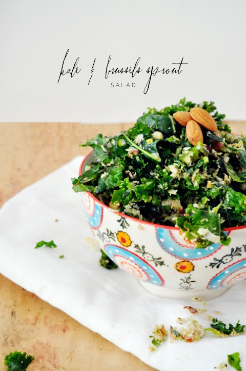 Kale and brussels sprout salad: SO much more delicious than it sounds! And super healthy, too.