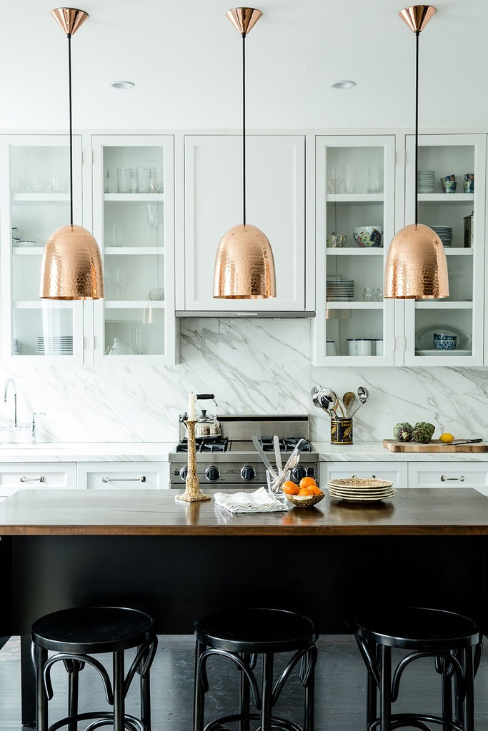 New York apartment: Copper pendants