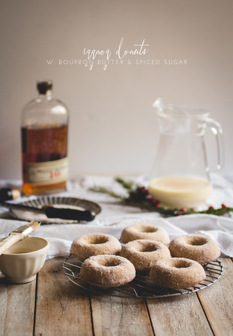 Eggnog donuts with bourbon butter & spiced sugar