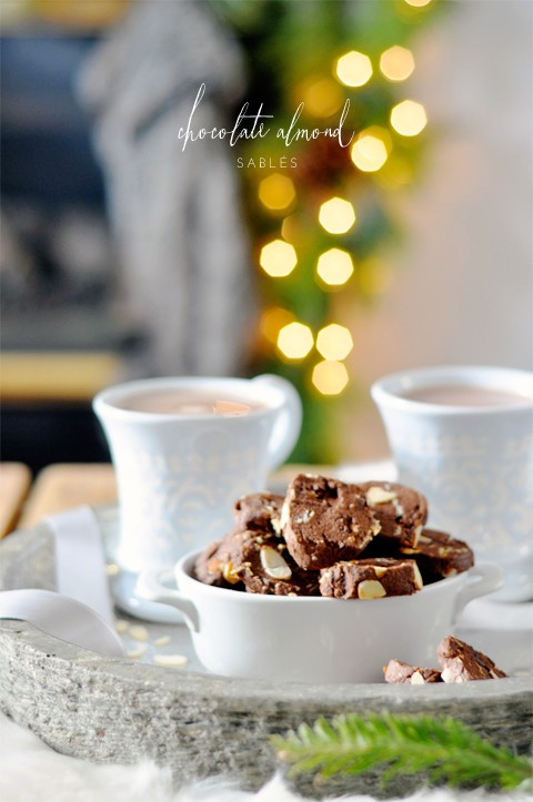 Chocolate almond Christmas cookies