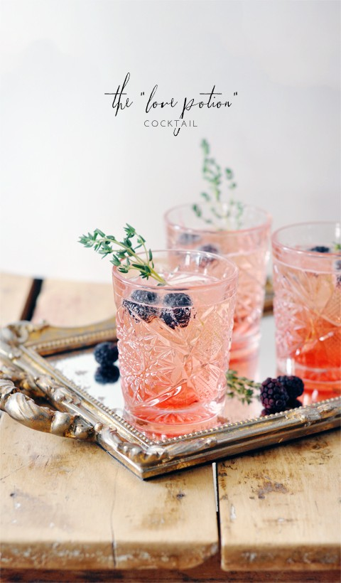 "The ""love potion"" cocktail! Blackberry thyme + champagne <3"