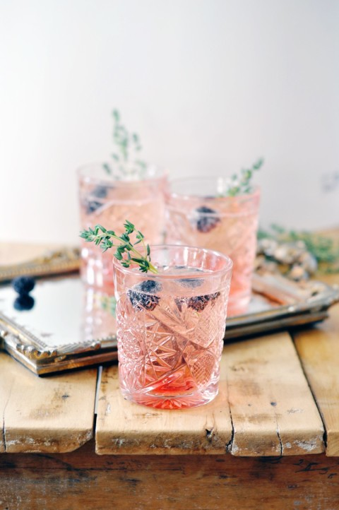 Blackberry thyme sparkling cocktail