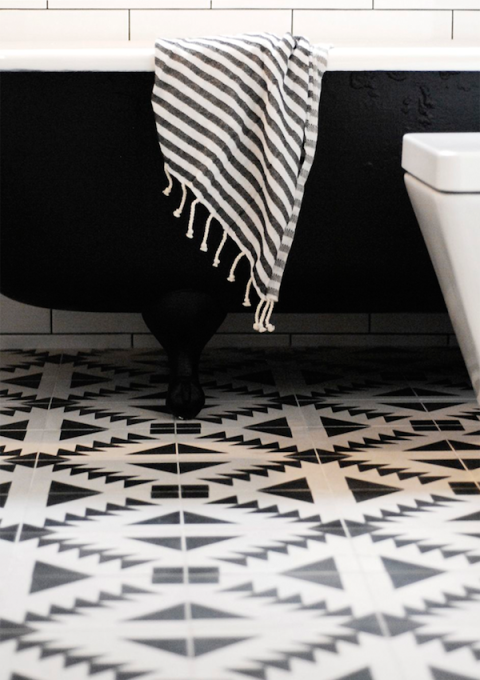 Black And White Bathroom With Graphic Tile Floor