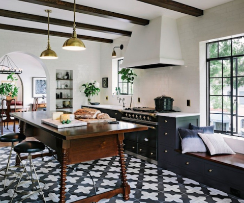 Beautiful kitchen with encaustic graphic tiles