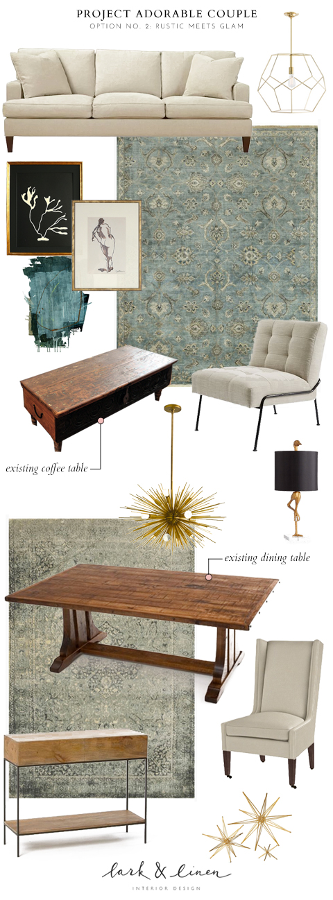 Rustic glamorous living room and dining room