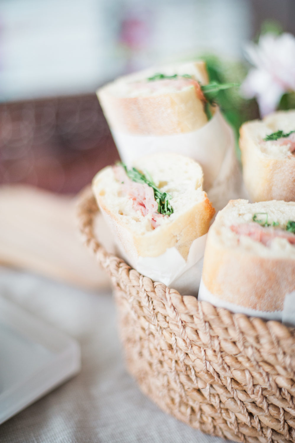 Sandwiches wrapped in parchment and twine