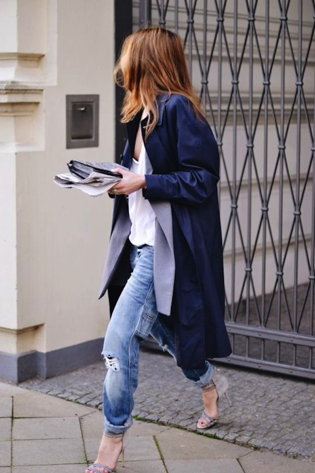trench and boyfriend jeans