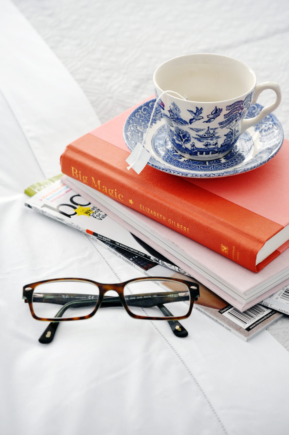 Tea, books, glasses.