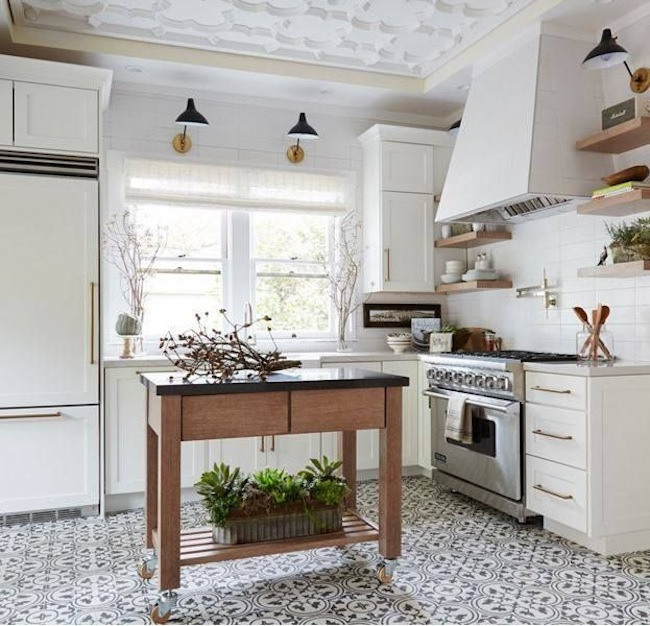 White Tile In Kitchen Floor: Inspiration: Ceilings