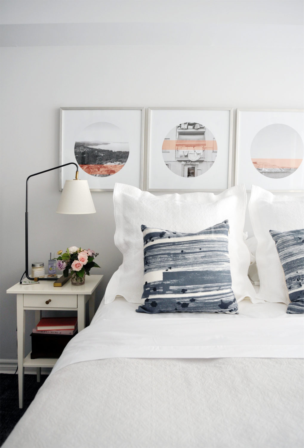 White, navy, blush bedroom