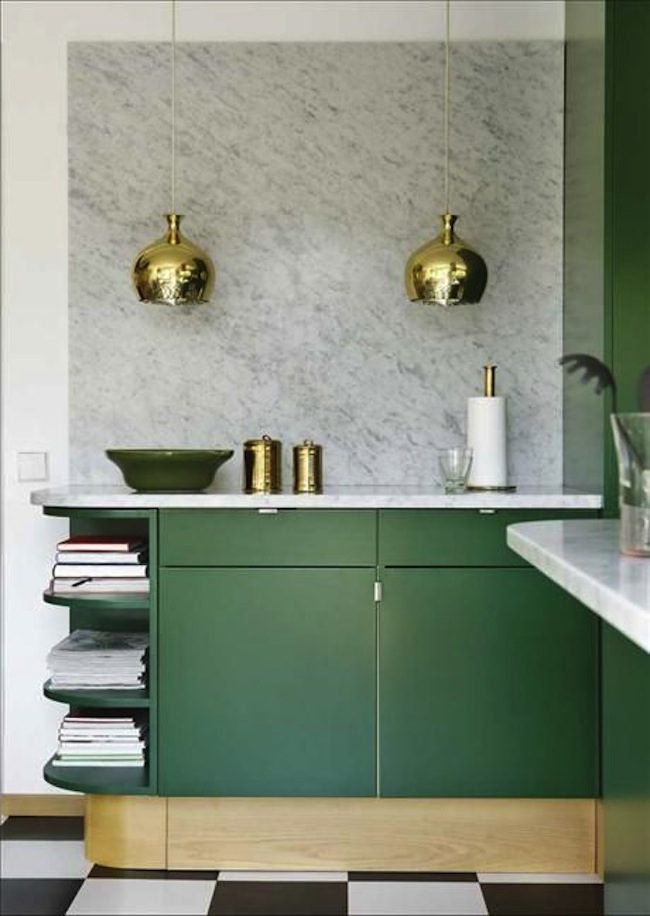... Kitchen Emerald Green And Marble ...