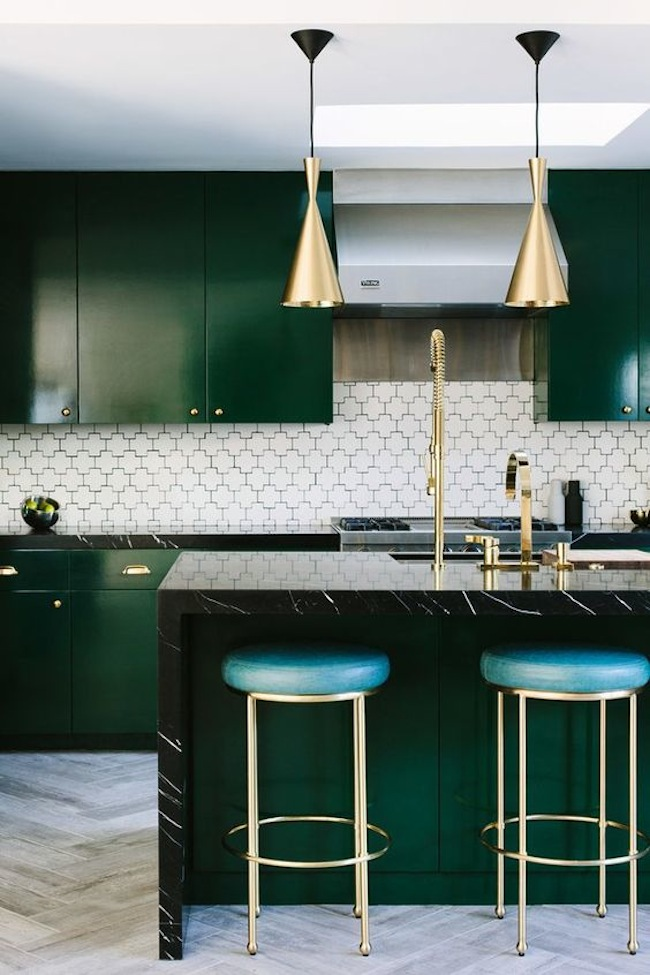 Inspiration emerald green kitchens lark linen for Green and white kitchen designs