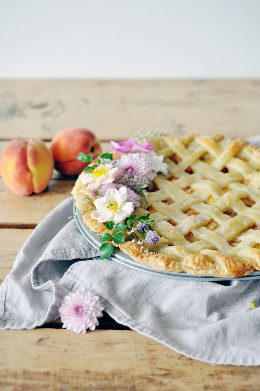 Bourbon brown sugar peach pie