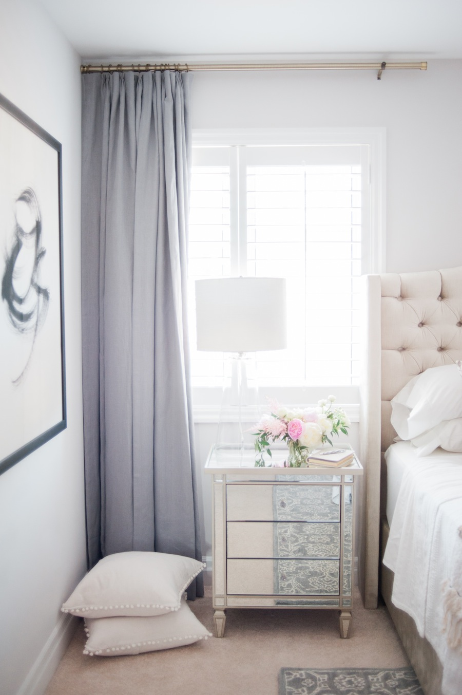 Suburban faux pas 39 master bedroom reveal lark linen for Bedroom curtain designs photos