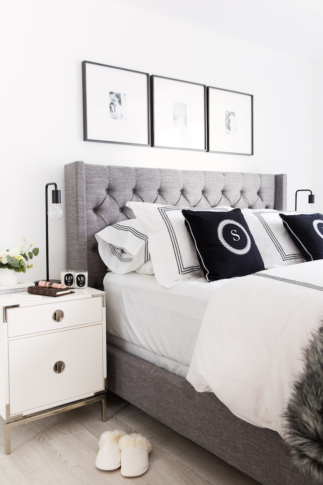 black and white bedroom for him and her