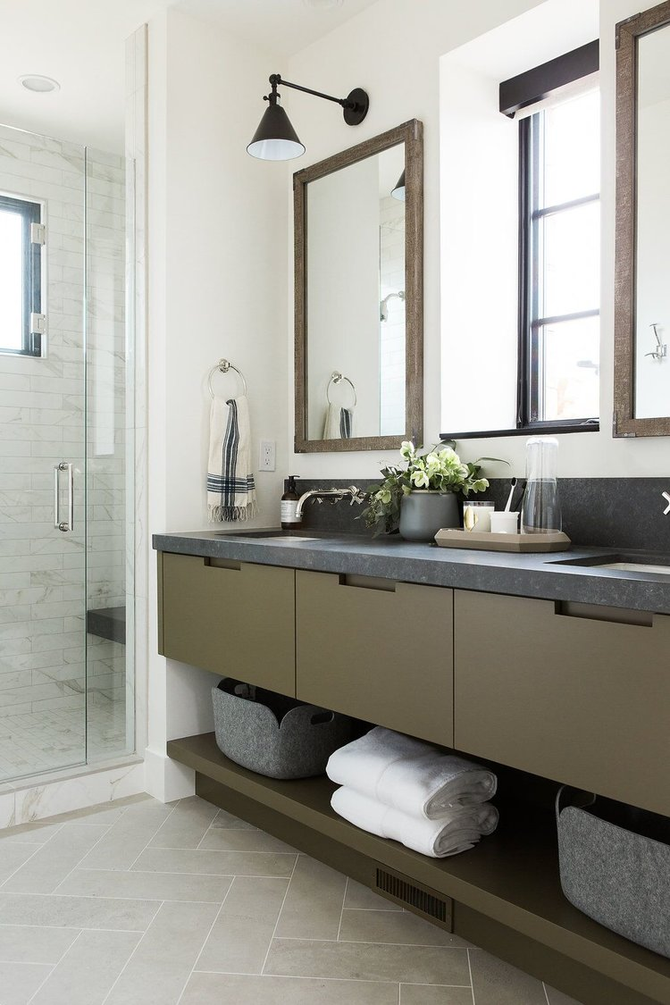 Mountain home perfection lark linen - Bathroom cabinets and countertops ...