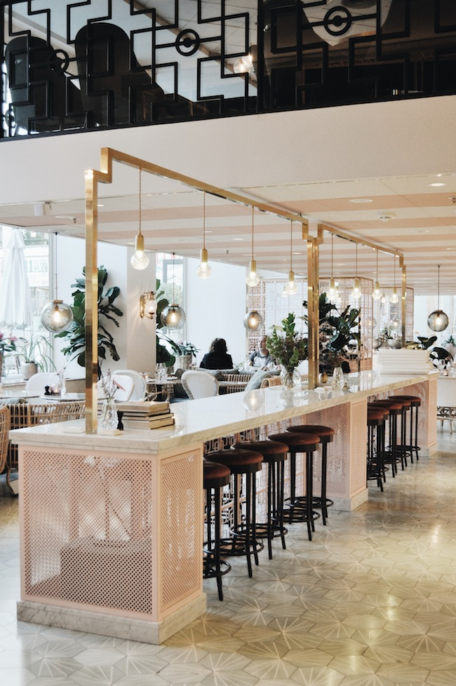 Cute blush and gold restaurant in Stockholm, Sweden