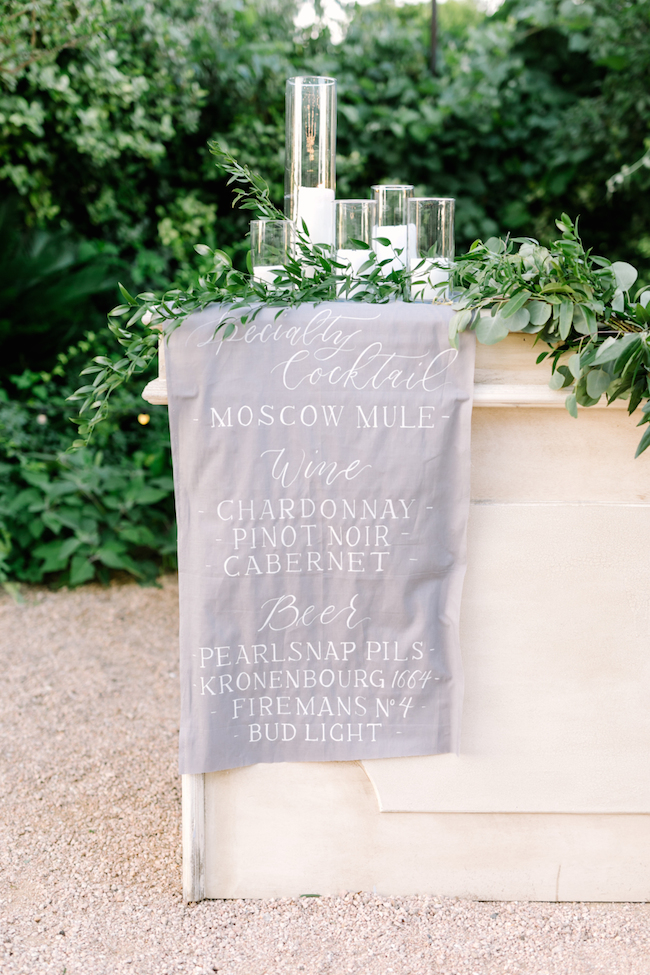 wedding menu fabric sign