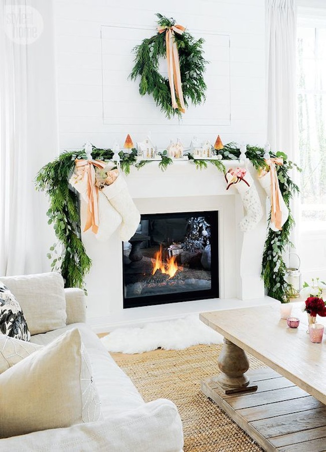 white pink christmas mantle