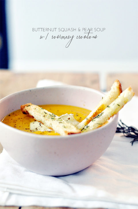 Butternut Squash & Pear Soup with Rosemary Croutons